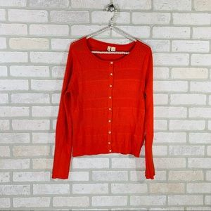 Anthropologie Moth Orange Button Front Cardigan